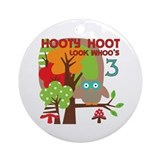 Hooty Hoot 3rd Birthday Ornament (Round)