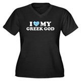I Love My Greek God Women's Plus Size V-Neck Dark