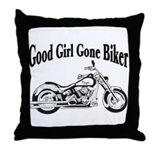 Good Girl Biker II Throw Pillow