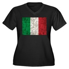 Italy Flag Women's Plus Size V-Neck Dark T-Shirt