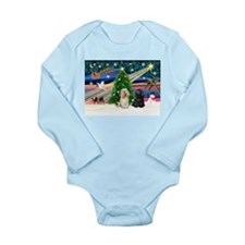 XmasMagic/2 Cockers Long Sleeve Infant Bodysuit