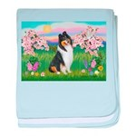 Blossoms / Collie (tri) baby blanket