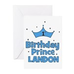 1st Birthday Prince Landon! Greeting Cards (Pk of