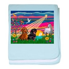 Magical Night / Two Dachshund baby blanket
