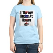 I Throw Rocks At Houses Women's Pink T-Shirt