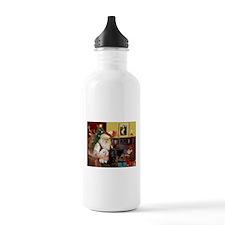 Santa's 3 Poodles (B+W) Water Bottle