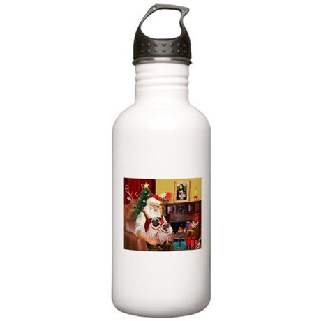 Santa's fawn Pug pair Stainless Water Bottle 1.0L