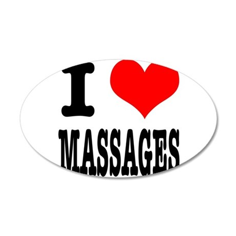 I Heart (Love) Massages 38.5 x 24.5 Oval Wall Peel