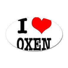 I Heart (Love) Oxen 22x14 Oval Wall Peel