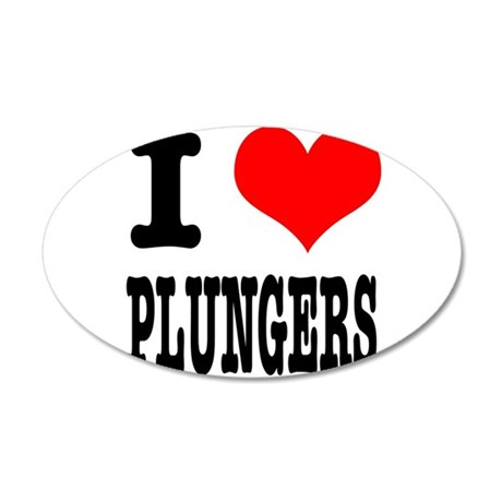 I Heart (Love) Plungers 38.5 x 24.5 Oval Wall Peel
