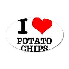 I Heart (Love) Potato Chips 22x14 Oval Wall Peel