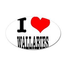 I Heart (Love) Wallabies 22x14 Oval Wall Peel