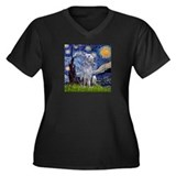 Starry Night Deerhound Women's Plus Size V-Neck Da