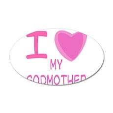 Pink I Heart (Love) Godmother 22x14 Oval Wall Peel