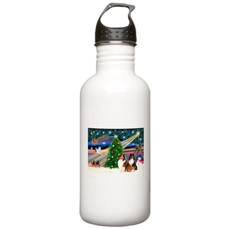 XmasMagic/2 Shelties(p3) Stainless Water Bottle 1.