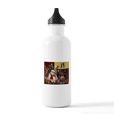 Santa & Toy Fox Terrier Water Bottle