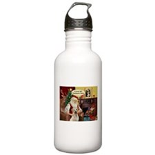 Santa's Yellow Lab (TH) Water Bottle