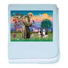 St Francis / Aussie pair (tri baby blanket