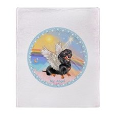 Clouds/Dachshund Angel Throw Blanket