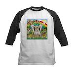 Rainbow & Shih Tzu Kids Baseball Jersey