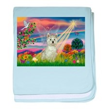 Cloud Angel / Westie baby blanket