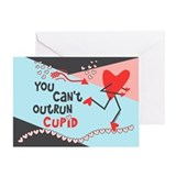 You Can't Outrun Cupid Valentine Greeting Card