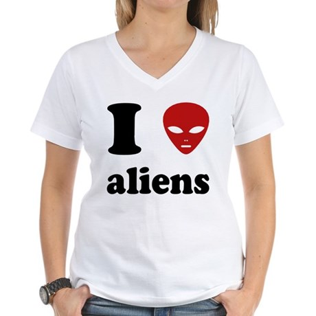 I Love Aliens Womens V-Neck T-Shirt
