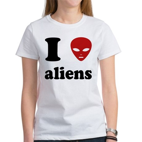 I Love Aliens Womens T-Shirt