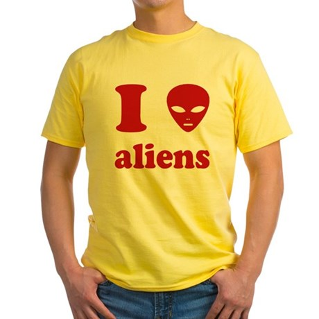 I Love Aliens Yellow T-Shirt