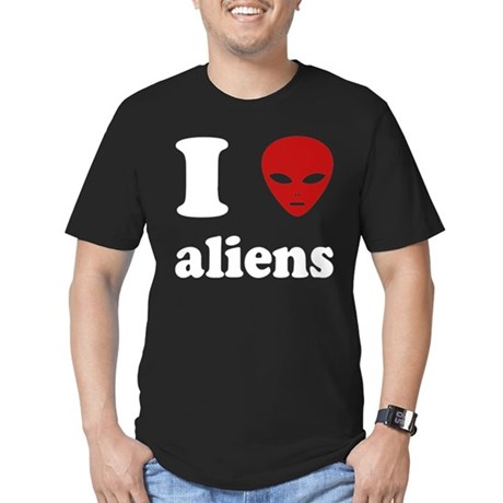 I Love Aliens Mens Fitted Dark T-Shirt