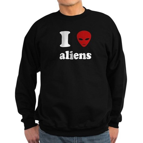 I Love Aliens Dark Sweatshirt