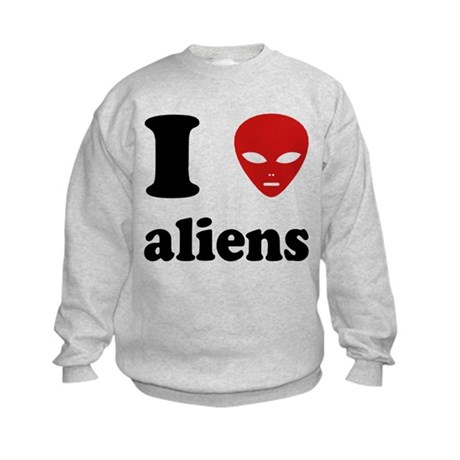 I Love Aliens Kids Sweatshirt