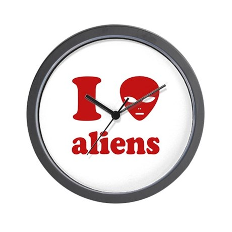 I Love Aliens Wall Clock