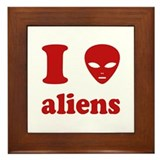 I Love Aliens Framed Tile