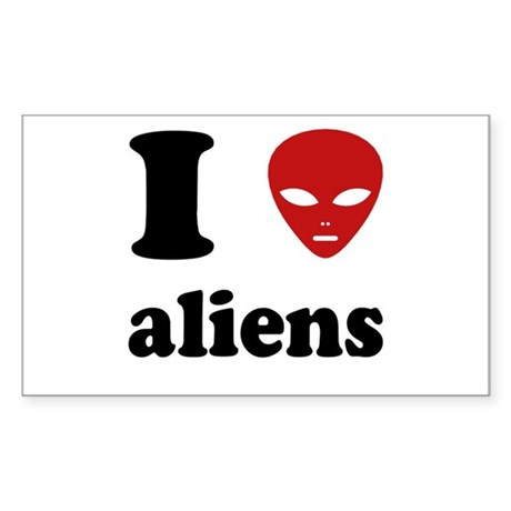 I Love Aliens Rectangle Sticker