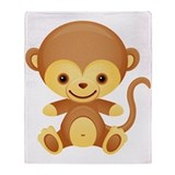 Cute Kawaii Cheeky monkey Throw Blanket