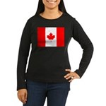 Canadian Flag Women's Long Sleeve Dark T-Shirt
