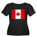 Canadian Flag Women's Plus Size Scoop Neck Dark T-