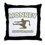 Monkey Steals The Peach Throw Pillow