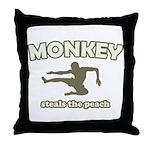 Monkey Steals The Peach Throw Pillow