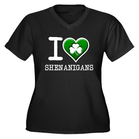 I Clover Shenanigans Women's Plus Size V-Neck Dark