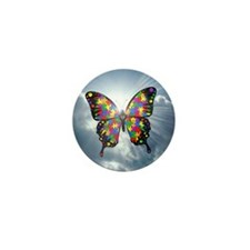 """Autism Butterfly Sky Button - 1"""""""