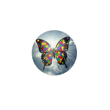 """Autism Butterfly Sky Button - 1"""" (10 pack)"""