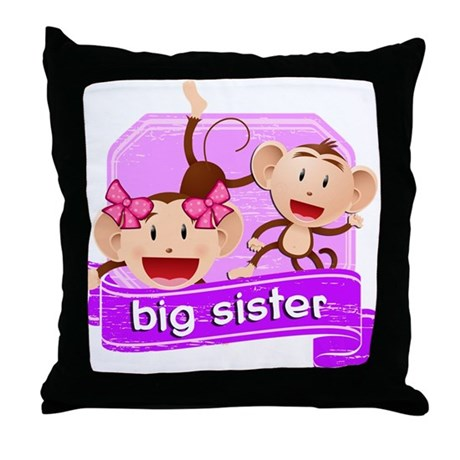 Big Sister Monkey Throw Pillow