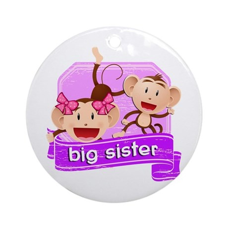 Big Sister Monkey Ornament (Round)