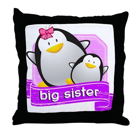 Big Sister Penguin Throw Pillow