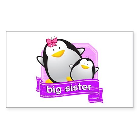 Big Sister Penguin Sticker (Rectangle)