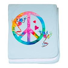 Tree Frogs 4 Peace Symbols baby blanket
