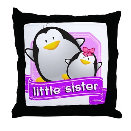 Little Sister Penguin Throw Pillow