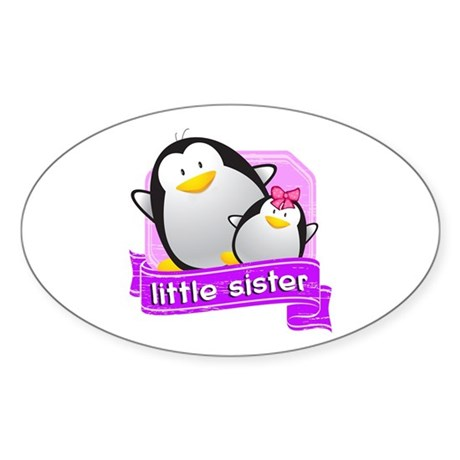 Little Sister Penguin Sticker (Oval)